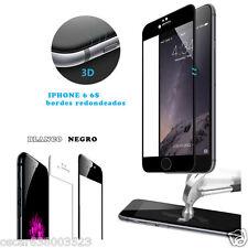 """Protector Cristal Templado Completo 4D NEGRO Curvo para iPhone 6 6S 4,7"""" PREMIUM"""
