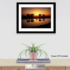 African Sunset Elephants Poster, Nature Wildlife Photo Print ONLY Wall Art A4