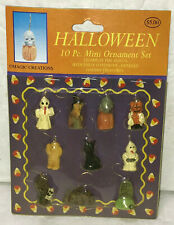 Halloween Mini Ornament Set Vintage 90s NOS Ghost Witch Mummy Cat Skull Tomb