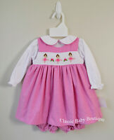 NWT Petit Ami Pink Ballerina Smocked Baby Girls Dress Bloomers 3 6 9 Months