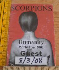 Scorpions Humanity World Tour 2007 concert VIP backstage pass fabric sticker