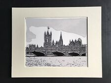 PALACE OF WESTMINSTER, HOUSES OF PARLIAMENT, LONDON Mounted Giclee Print