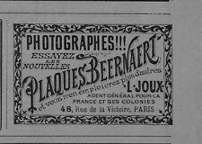 """PARIS """" ETS JOUX / PLAQUES PHOTOGRAPHIQUES BEERNAERT """" PETITE PUBLICITE 1894"""