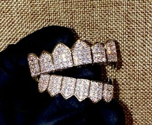 Italy Silver Filled CZ Cluster Custom Slugs Top Bottom Fang GRILLZ Mouth Set