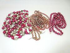 3 Strands Vtg Mercury Glass Bead String Christmas Tree Garland Pink Silver Mix