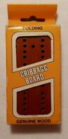 HOYLE Folding Cribbage Board Genuine Wood with Metal Pegs - VINTAGE 1980  # 5015