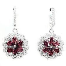 REAL GEM Pear CUT 5x3 MM Pink Rhodolite Garnet ,W. Cz 925 Silver DROP Earrings