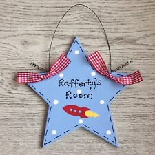 PERSONALISED NAME STAR ROCKET SPACE BOY BEDROOM Door Hanger Wall Sign Plaque