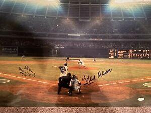 Hank Aaron Al Downing Autographed 16x20 of Homerun #715 JSA