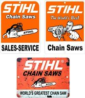"""Lot Of 3 STIHL Chain Saw Vintage Looking Reproduction Aluminum Signs 9"""" x 12"""""""