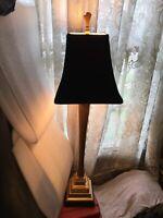 "Column Bookcase Desk Hallway Table Lamp Soft Gold Finish Black Shade 32""H Works"