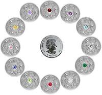 🇨🇦 Canada 12 Birthstones $5 Silver Coins with Swarovski Crystals, UNC, 2020