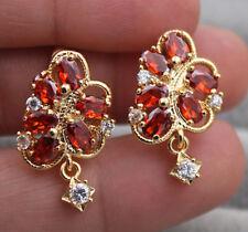 18K Yellow Gold Filled - Flower Hollow Ruby Topaz Zircon Gemstone Party Earrings