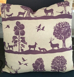"""Voyage Cairngorms Stag Fabric Damson Linen / Faux Suede Rev Cushion Cover 17"""""""