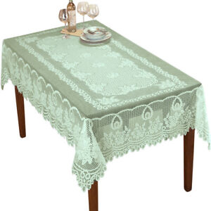 Green Vintage Lace Table Cloth Rectangle Tablecloth Dining Room Decor 60x90inch