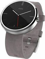 New Motorola Moto 360 46mm Stainless Steel Case Leather Classic Band Stone Grey
