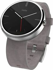 Motorola Moto 360 Stainless Steel Smartwatch Stone Grey Leather Smart Watch New
