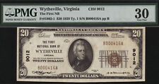 $20 1929 T1 First National Bank of Wytheville, Virginia CH  9012 PMG 30 TOUGH