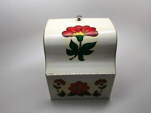 Vintage White Metal Red Tole Flowers Recipe Box - Wall Mount Counter Top