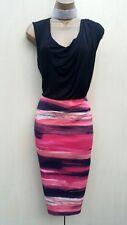Size UK-10 Karen Millen Stripped Cowl Neck Party Day Evening Pencil Dress