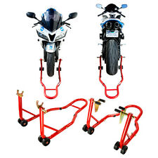 Front and Rear Wheel Lift Motorcycle Stands Swingarm Paddock Spool Hook Red NEW