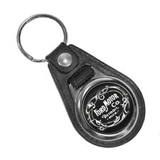 Ford Motor Company Vintage Car Sign Vintage Style Round Faux Leather Key Ring