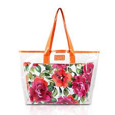 Large Clear Orange Shopper Beach Gym Tote Bag Floral White Insert Handbag Purse