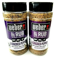 2 Pack Weber Dry Rub For Smoking & Barbecuing Sweet Cracked Pepper 12.25 oz (x2)