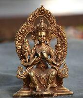 """4,4 """"Statue de bouddha en bouddhisme doré de bronze ancien du Tibet"""