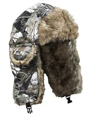 Yukon Bomber Trapper Hat Rabbit Fur Lined Snow Camo Mens Large
