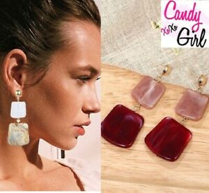 Big Geometric 2 Tier Pink & Red Square Acrylic Long Drop Fashion Earrings