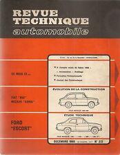 REVUE TECHNIQUE AUTOMOBILE 272 RTA 1968 FORD ESCORT EVO FIAT 850 NECKAR ADRIA