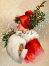 Vintage Clapsaddle Christmas Holly Girl in Red Quilting Fabric Block
