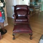 Vtg  Hickory Leather Burgundy Boss Wingback Office Chippendale Chair   Ottoman