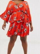 Pretty Little Thing Plus Kimono Red Floral Sleeve Mini Dress - Size: 24