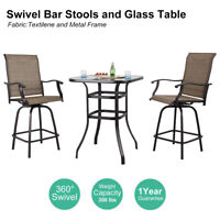 PHI VILLA Outdoor Patio Textilene Swivel Bar Stools High Bistro Table Set of 3