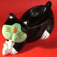 "CAT CANDY DISH BOWL MOUSE HAND DECORATED VINTAGE 12 1/2""  DESIGN IMPRESSIONS"