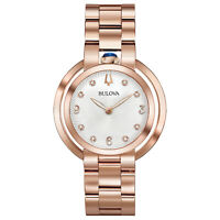 Bulova Women's Quartz Rubaiyat Sapphire Crystal Diamond Accent 35mm Watch 97P130