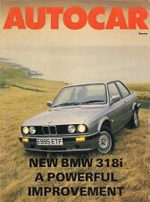 BMW 318i 2-DR 1987-88 mercato del Regno Unito PROVA SU STRADA opuscolo AUTOCAR serie 3