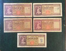 LOTTO 5 BANCONOTE LIRE 500 ITALIA 1948 1961 conservazione MB/BB- NUM SABAUDA
