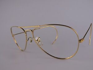 Vintage B&L Ray Ban Aviator Eyeglasses Frames Size 58-14 Coiled Arms Made in USA