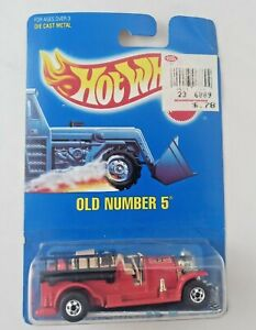 Hot Wheels 1990 Mainline Blue Card #1 Old Number 5 Red w/ Black Walls RARE