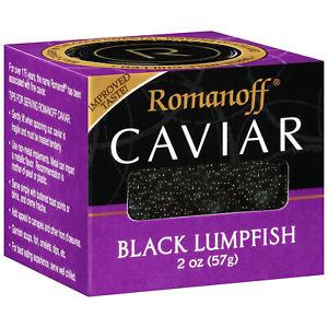 WILD CAUGHT ROMANOFF BLACK LUMPFISH CAVIAR 2 oz JAN 2023 SEAFOOD SPREAD OMEGA-3