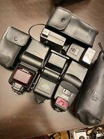 Lot Camera Flashes For Parts Not Working Nikon Sunpak Canon Minolta Vivitar