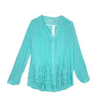 Soft Surroundings Women's Glam Gauze Shirt Button Front Top Aqua Medium NWT