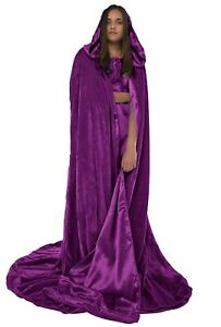 Hooded Velvet Cloak lined in Satin Luxury Cape Fashion Vampire Costume Witch XL