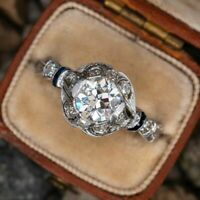 Antique Victorian Edwardian Engagement Ring 14K White Gold Over 1.21 Ct Diamond