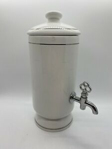 Frontgate Soap Lotion Mouthwash Dispenser Ceramic Silver Accents Made in Italy