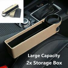 2Pcs PU Leather Car Seat Seam Gap Filler Pouch Storage Box Organizer Holders