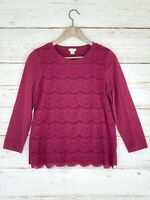 J Crew Factory Sz Small Knit Top Burgundy Red Purple Lace Front Panel 3/4 Sleeve